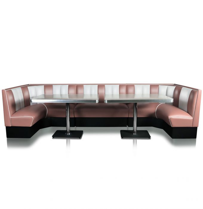 Bel Air Diner Booth Horseshoe Combinatie Dusty Rose